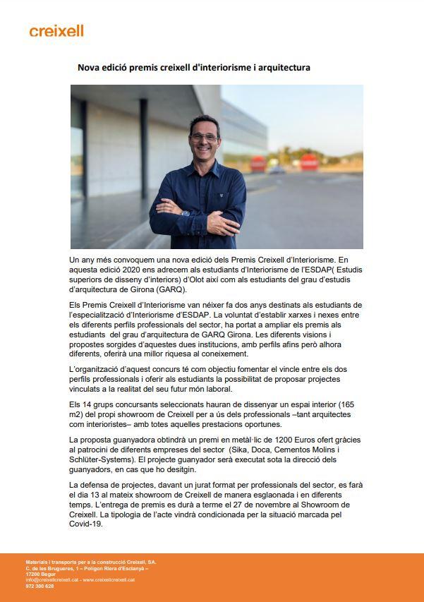 Concurs d'interiorisme i arquitectura Creixell 2020